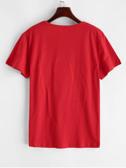 unique Flower Slogan Graphic Short Sleeve Tee - RED M Mobile