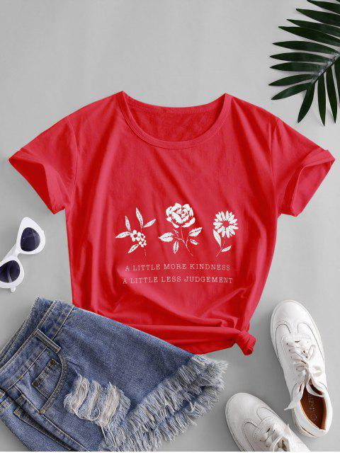 ladies Flower Slogan Graphic Short Sleeve Tee - RED XL Mobile