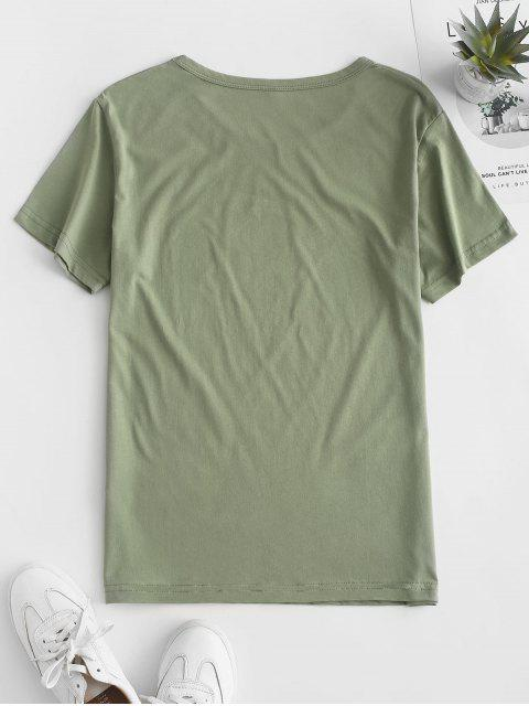 outfit Flower Slogan Graphic Short Sleeve Tee - LIGHT GREEN S Mobile