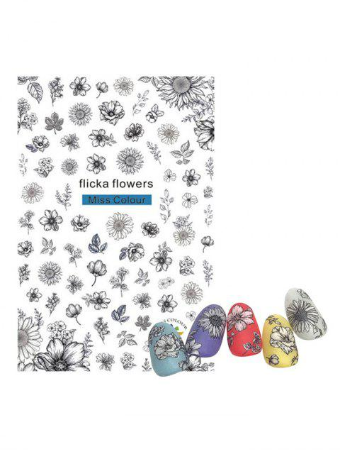 Принт цветка и растения Стикеры для ногтей - Многоцветный-A  Mobile