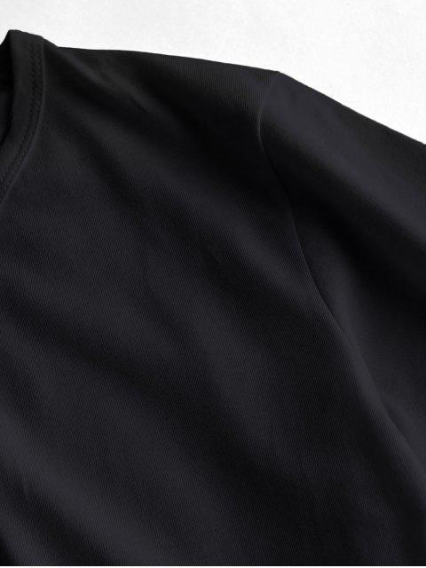 women Figure Planet Print Short Sleeve T-shirt - BLACK L Mobile