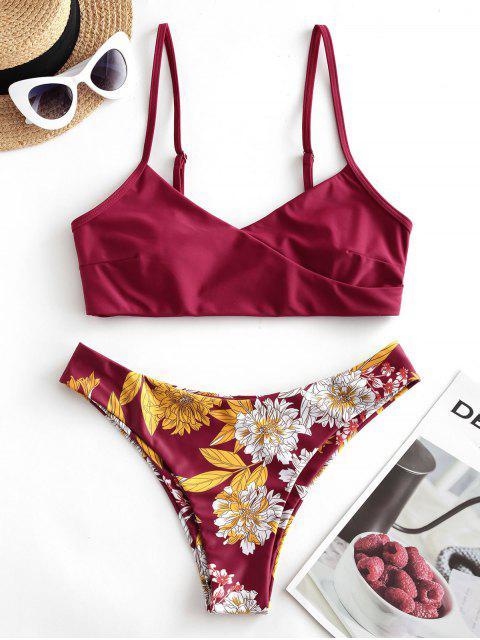 Costume da Bagno Bikini Imbottito Floreale di ZAFUL - Pie di Prugna  M Mobile