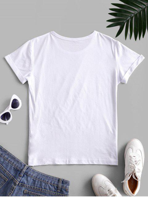 fashion Short Sleeve Blessed Heart Graphic Basic Tee - WHITE M Mobile