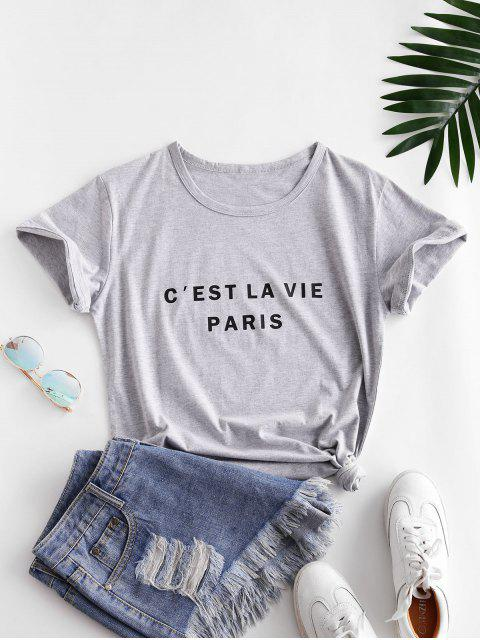 chic Short Sleeve Graphic Basic Tee - GRAY S Mobile
