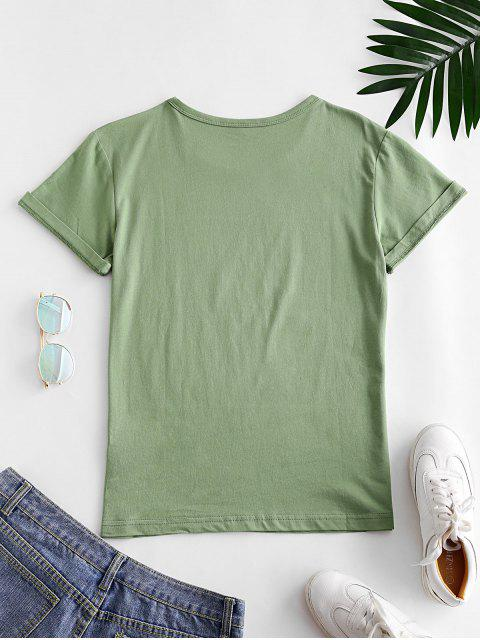 chic Short Sleeve Blessed Heart Graphic Basic Tee - FERN GREEN 2XL Mobile