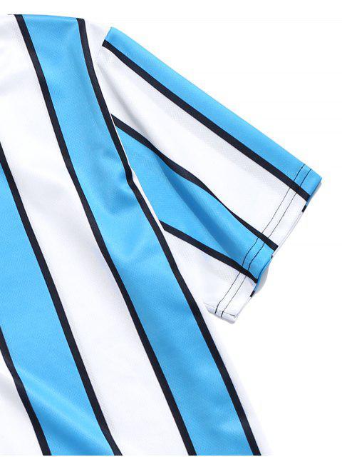 色塊條紋印花T卹 - 藍色 L Mobile