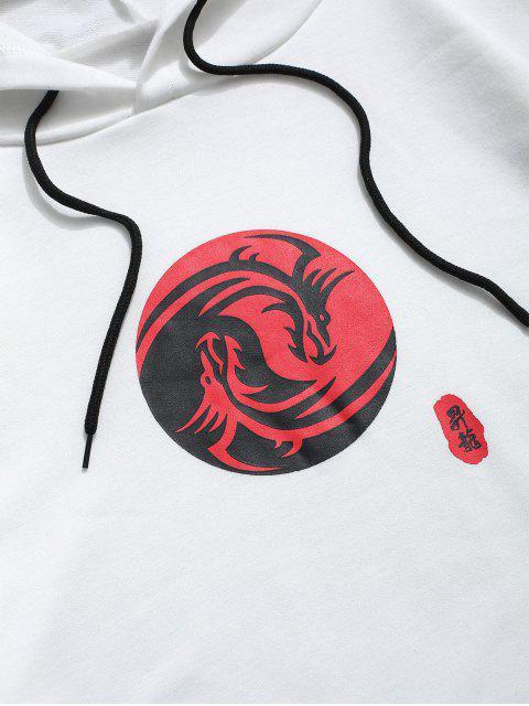新奇中國印刷小袋連帽衫 - 白色 XL Mobile
