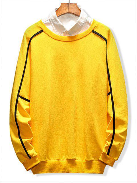 sale Raglan Sleeve Piping Lounge Sweatshirt - YELLOW 3XL Mobile
