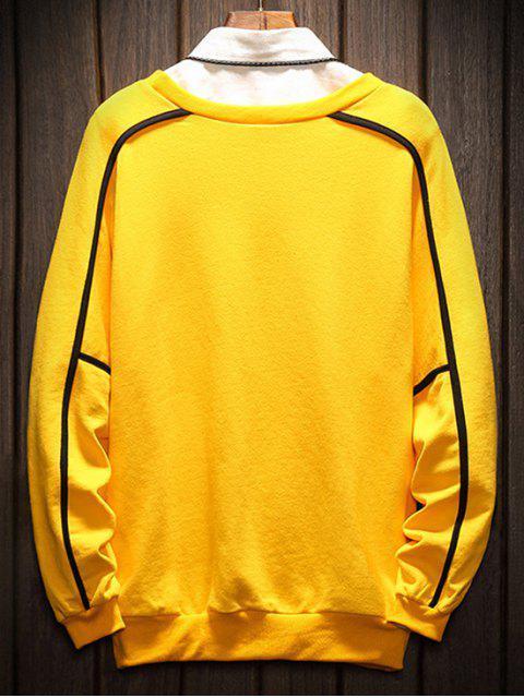 shops Raglan Sleeve Piping Lounge Sweatshirt - YELLOW 4XL Mobile