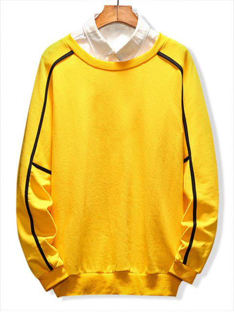 buy Raglan Sleeve Piping Lounge Sweatshirt - YELLOW 2XL Mobile