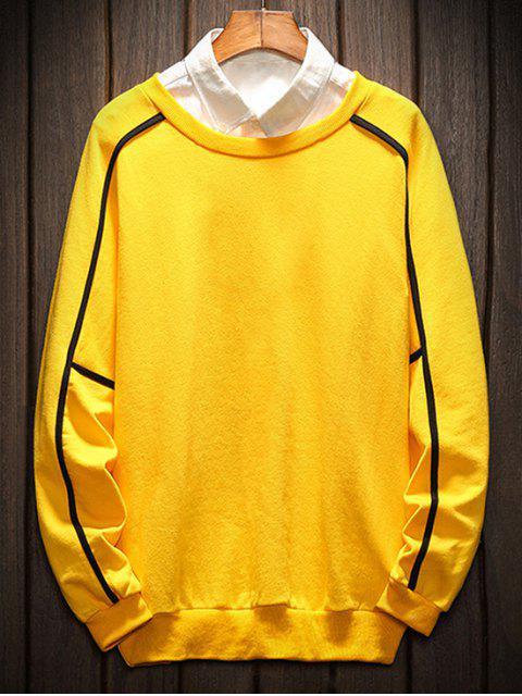 online Raglan Sleeve Piping Lounge Sweatshirt - YELLOW L Mobile