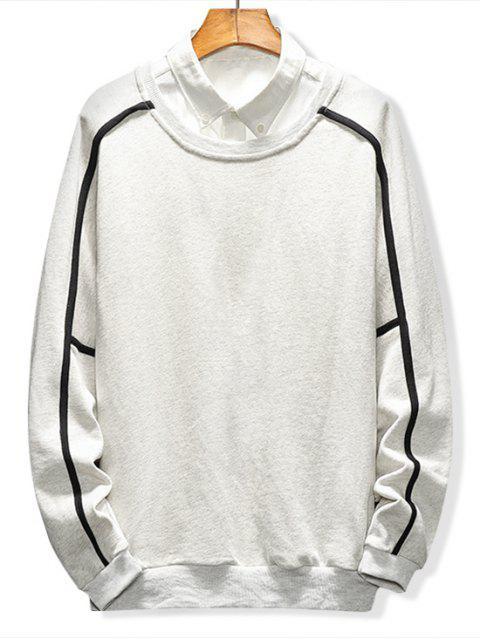 women Raglan Sleeve Piping Lounge Sweatshirt - LIGHT GRAY L Mobile