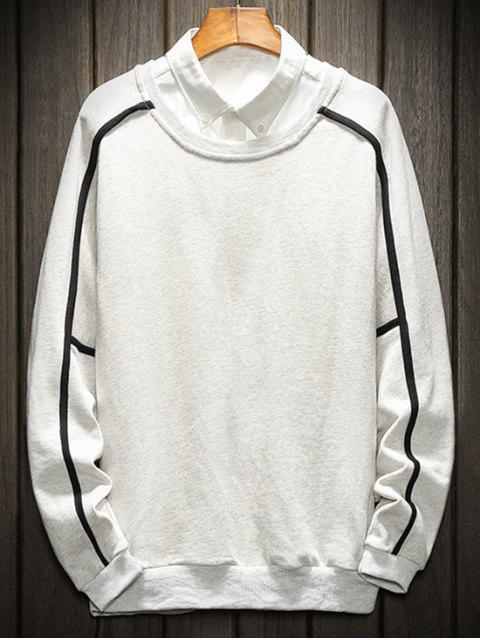 ladies Raglan Sleeve Piping Lounge Sweatshirt - LIGHT GRAY 4XL Mobile