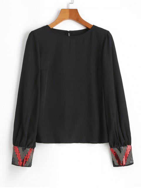 latest Chiffon Metallic Sparkly Sequined Blouse - BLACK M Mobile