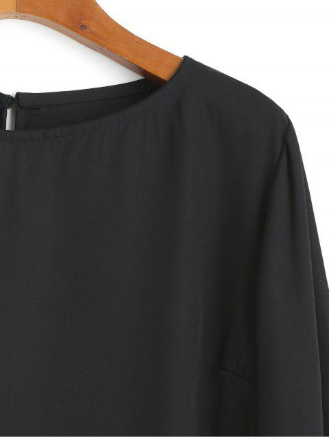 shops Chiffon Metallic Sparkly Sequined Blouse - BLACK XL Mobile