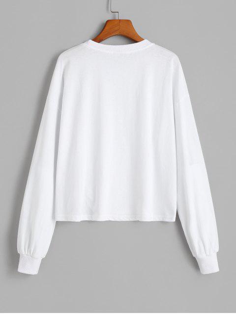 Sudadera Suelta Gráfico - Blanco XL Mobile