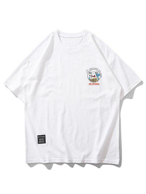 卡通動物衝浪信打印短袖T卹 - 白色 XL Mobile