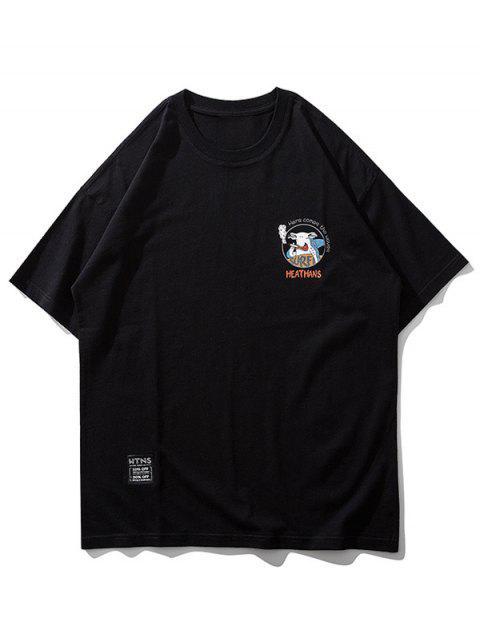 卡通動物衝浪信打印短袖T卹 - 黑色 L Mobile