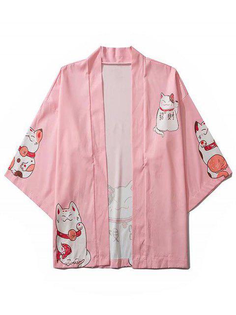 buy Fortune Cat Print Drop Shoulder Kimono Cardigan - PINK L Mobile