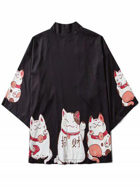hot Fortune Cat Print Drop Shoulder Kimono Cardigan - BLACK 2XL Mobile