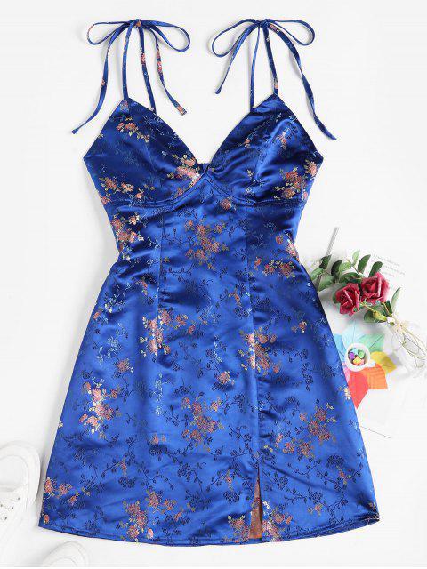 ZAFUL Vestido Floral de Hombro con Lazo Caído con Estampado de Flores - Azul M Mobile