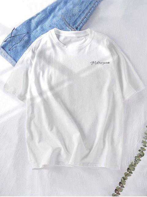 ladies Star Graphic Swords Letter Print Short Sleeve Tee - WHITE XL Mobile