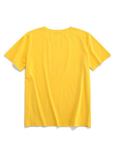 ZAFUL卡通水果打印短袖T卹 - 黃色 S Mobile