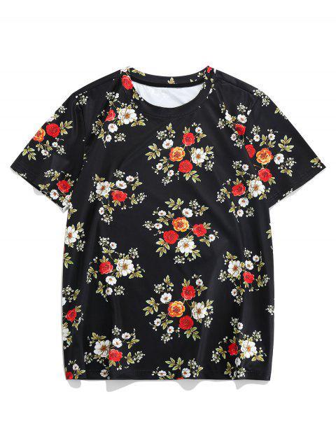 ZAFUL Camisetacon MangaCorta Estampada de Flores - Multicolor-A 2XL Mobile