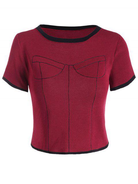 Camiseta de Estampados de Contraste con Mangas Cortas - Vino Tinto Talla única Mobile