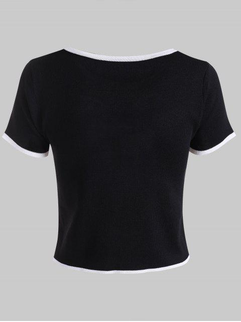 women Knitted Contrast Stitching Ringer Tee - BLACK ONE SIZE Mobile