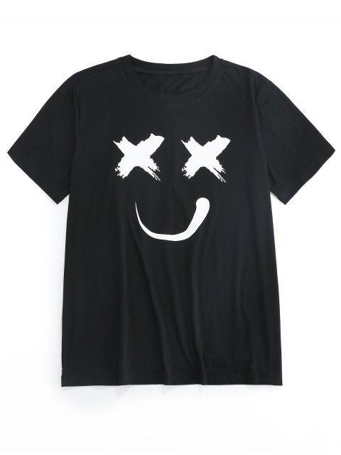 shop ZAFUL Smiling Print Short Sleeves T-shirt - BLACK S Mobile