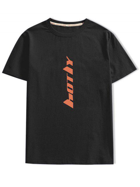短袖字母印花T卹 - 黑色 2XL Mobile