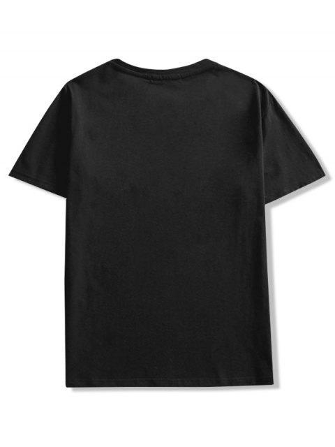 短袖卡通動物印花T卹 - 黑色 L Mobile