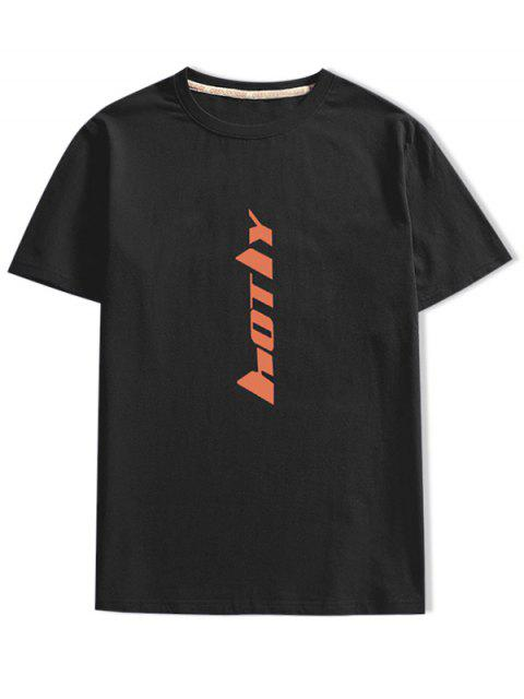 短袖字母印花T卹 - 黑色 XL Mobile