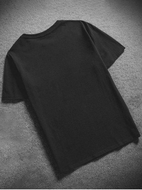 trendy Tiny Sun Print Solid Short Sleeve T-shirt - BLACK M Mobile