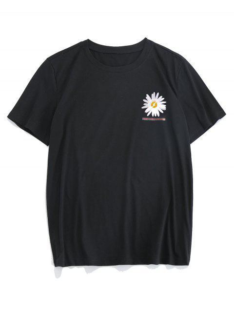 ZAFUL T-shirt de Mangas Curtas Padrão de Flor - Preto S Mobile