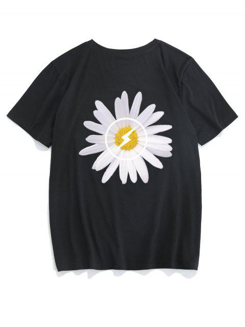 ZAFUL Blumenmuster T-Shirt mit Kurzen Ärmeln - Schwarz XL Mobile