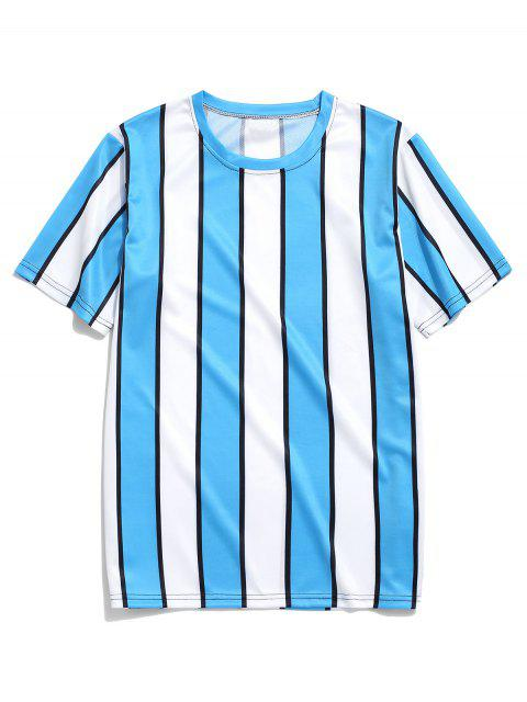 unique Color Block Striped Print T-shirt - BLUE L Mobile
