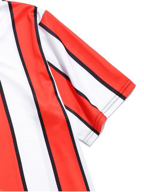 色塊條紋印花T卹 - 紅 XL Mobile