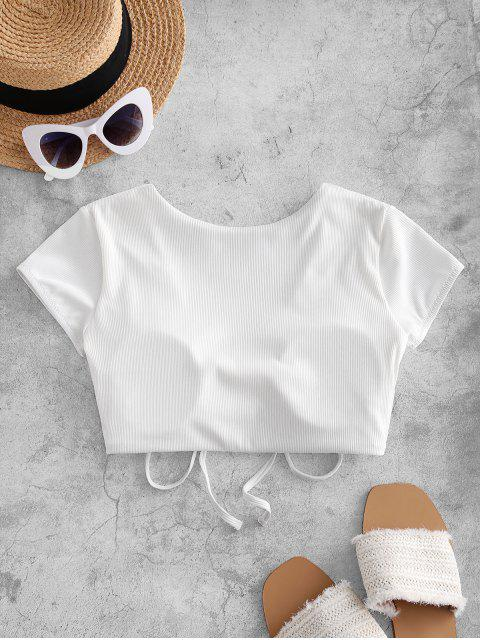 women ZAFUL Cinched Ribbed Swim Top - WHITE XL Mobile