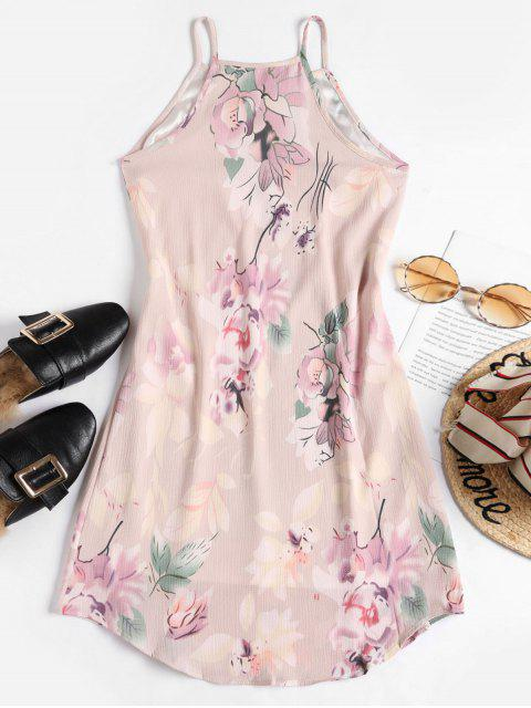 online Floral Leaf Sleeveless Dress - PINK M Mobile
