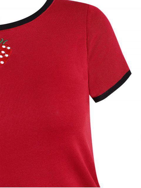 T-shirt Court Fraise Brodée en Tricot - Rouge Taille Unique Mobile
