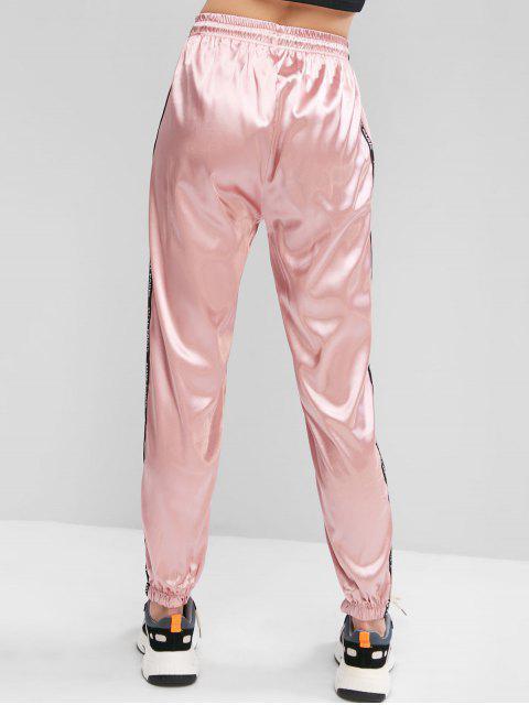 レターテープ巾着シルキージョガーパンツ - ピンク L Mobile