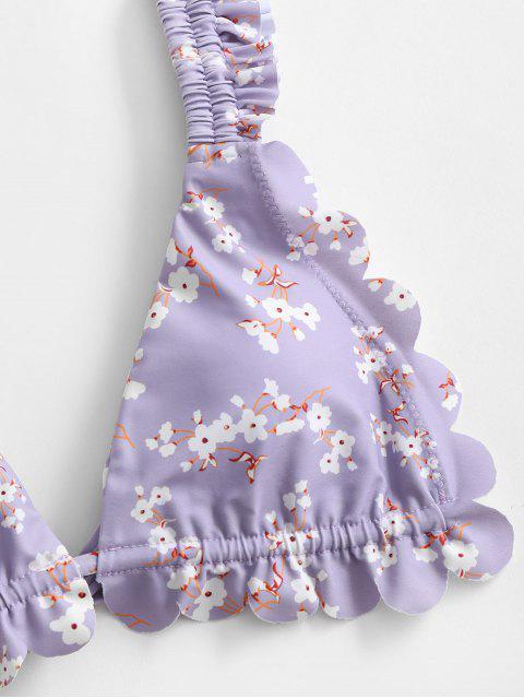 womens ZAFUL Flower Ruffle High Leg Bikini Swimwear - WISTERIA PURPLE M Mobile