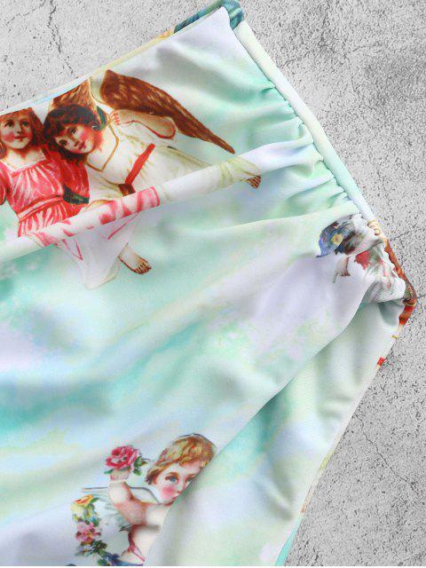 Costume da Bagno Tankini di ZAFUL a Costine con Lacci con Stampa di Angelo - Bianca S Mobile