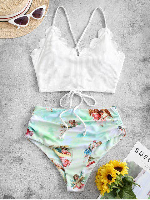 hot ZAFUL Angel Print Ribbed Lace Up Scalloped Tankini Swimsuit - WHITE L Mobile