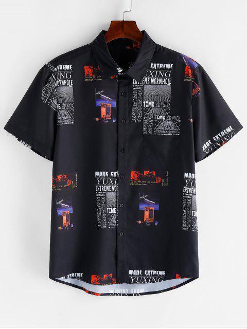 Grafischer Buchstabe Muster Gummileckage T-Shirt mit Kurzen Ärmeln - Schwarz 2XL Mobile