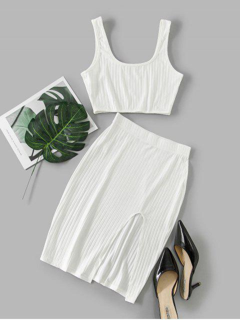 buy Cut Out Solid Crop Two Piece Suit - WHITE M Mobile