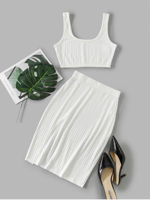 new Cut Out Solid Crop Two Piece Suit - WHITE L Mobile