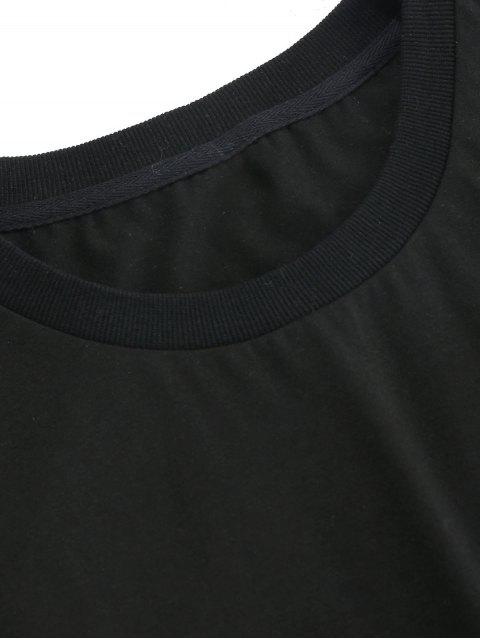 fashion ZAFUL Rose Embroidery Short Sleeve T-shirt - BLACK 2XL Mobile